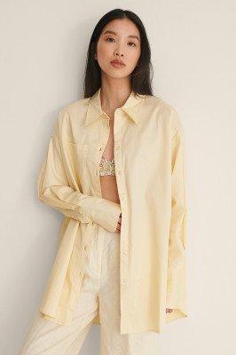 NA-KD Trend NA-KD Trend Gerecycleerd Oversized Shirt Met Zakken - Yellow