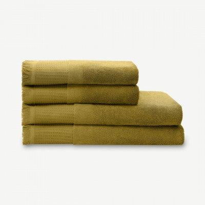MADE.COM Eren set van 4 wafelhanddoeken met franjes, olijfgroen