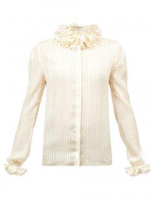 Matchesfashion Saint Laurent - Ruffled Striped Lamé Blouse - Womens - White Gold