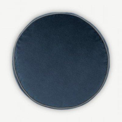 MADE.COM Julius rond fluwelen kussen, 45 cm diameter, inktblauw
