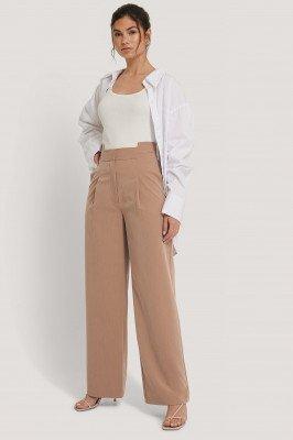 NA-KD Trend NA-KD Trend Asymmetric Waist Pants - Beige