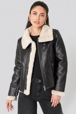 NA-KD Trend Raw Edge Cropped Aviator Jacket - Black