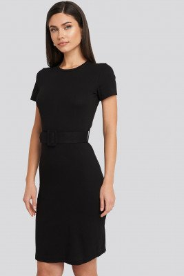 Trendyol Trendyol Short Sleeve Belted Mini Dress - Black