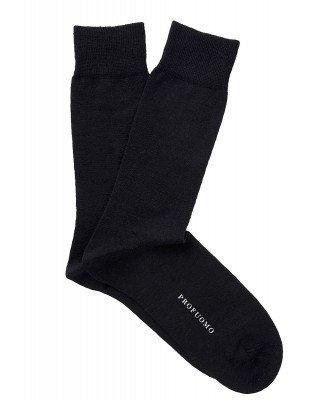 Profuomo Profuomo heren zwart uni katoen-wollen sokken