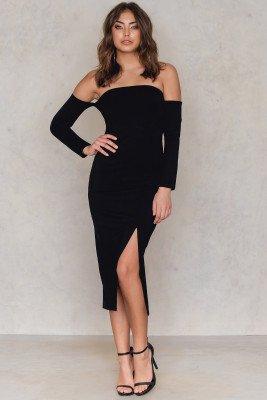 NA-KD Party Front Slit Off Shoulder Dress - Black