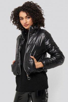 Trendyol Zipper Upright Collar Crop Jacket - Black