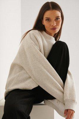 NA-KD Trend NA-KD Trend Organisch Sweatshirt Met Hoge Halsdetail - Grey