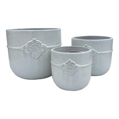 Ptmd jacy wit geglazuurde keramieke pot ornament