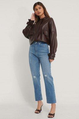 NA-KD Reborn NA-KD Reborn Organisch Rechte Versleten Jeans Met Hoge Taille - Blue