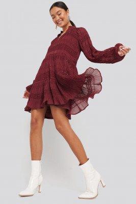 NA-KD Boho NA-KD Boho Sequin Detail Flowy Dress - Red