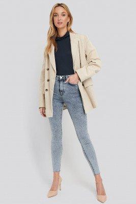 NA-KD NA-KD High Waist Raw Hem Skinny Jeans - Blue