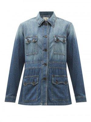 Matchesfashion Nili Lotan - Blake Pocketed Denim Jacket - Womens - Blue
