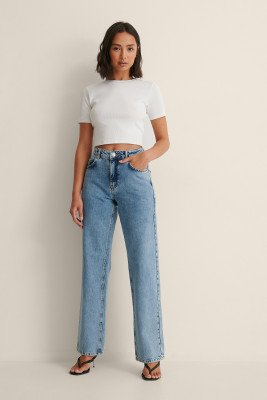 Louise Madsen x NA-KD Louise Madsen x NA-KD Organisch Rechte Jeans Met Middelhoge Taille - Blue
