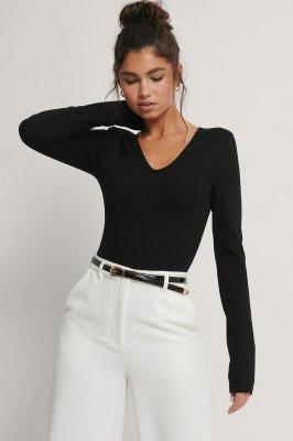 NA-KD Trend NA-KD Trend Power Shoulder Bodysuit - Black