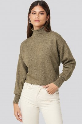 NA-KD Turtleneck Oversized Knitted Sweater - Brown