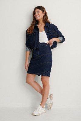 NA-KD Trend NA-KD Trend Seam Detail Midi Denim Skirt - Blue
