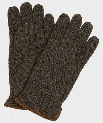 Michaelis Michaelis heren gebreide handschoen met suède groen