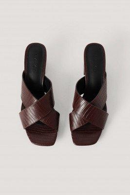 NA-KD Shoes NA-KD Shoes Muiltjes Met Gekruiste Bandjes - Brown