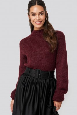 NA-KD Round Neck Oversized Knitted Sweater - Burgundy