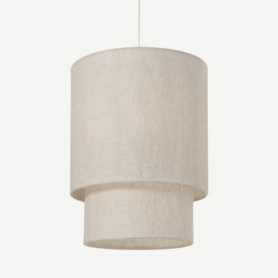 MADE.COM Henning gelaagde lampenkap, extra groot, grijswit