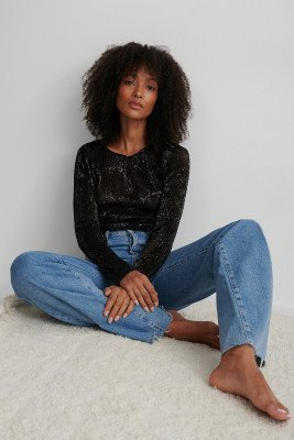 NA-KD Party NA-KD Party Sequin Round Neck Top - Black