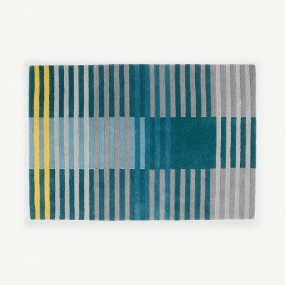 MADE.COM Weber Stripe gestikt vloerkleed 160 x 230cm, petrol