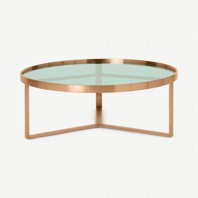 MADE.COM Aula salontafel, geborsteld koper en groen glas