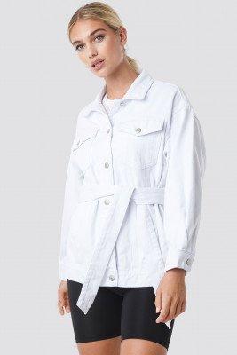 NA-KD Trend NA-KD Trend Belted Denim Jacket - White