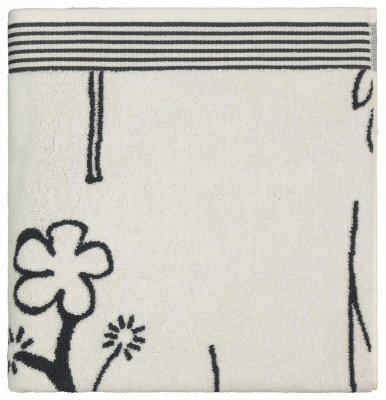HEMA HEMA Handdoek 70x140 Zware Kwaliteit Bloem Zwart Wit (wit)