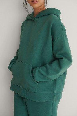 NA-KD NA-KD Organisch Geborstelde Hoodie Met Zak - Green