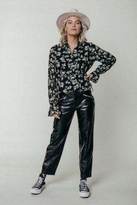 Colourful Rebel Colourful Rebel Lali Flower Blouse Zwart Dames - Basic Fit - Polyester