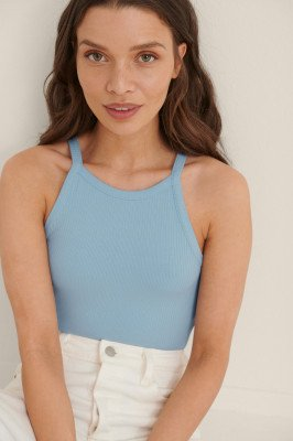 NA-KD Basic NA-KD Basic Cropped Hemdje Met Hoge Kraag - Blue
