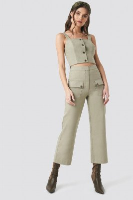 NA-KD Trend NA-KD Trend Linen Look Front Pocket Cargo Pants - Green