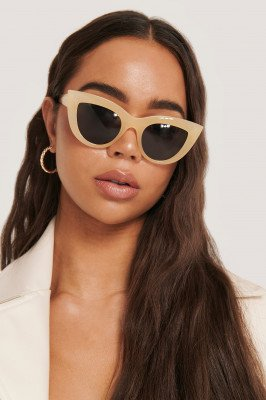 NA-KD Accessories Chunky Pointy Cat Eye Sunglasses - Beige