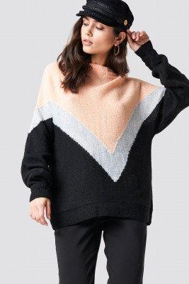 Trendyol Trendyol V-Block Knitted Jumper - Black,Pink