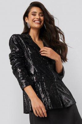 NA-KD Party Sequin Blazer - Black