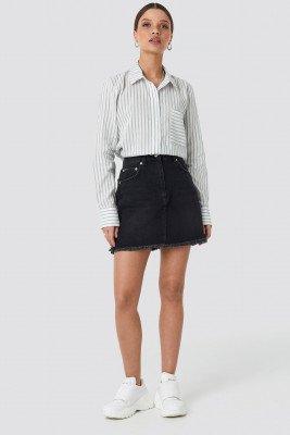 NA-KD NA-KD High Waist Raw Hem Denim Skirt - Black