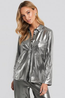 NA-KD Party Front Pocket Button Up Shirt - Silver
