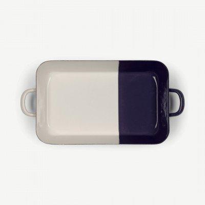 MADE.COM Riess braadpan van geemailleerd porselein, wit en pruim