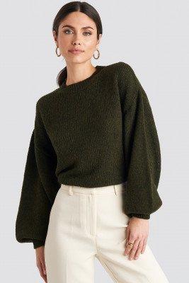 NA-KD NA-KD Crew Neck Volume Sleeve Knitted Sweater - Green