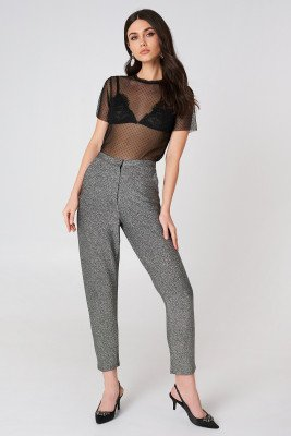 NA-KD Party Glittery Highwaist Trousers - Silver
