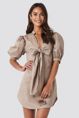 NA-KD Trend Puff Sleeve Tied Front Short Dress - Beige