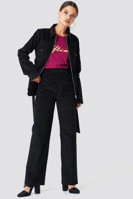 NA-KD NA-KD Straight Corduroy Pants - Black
