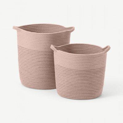 MADE.COM Toro set van 2 grote opbergmanden met handvatten, roze