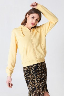 NA-KD Basic Basic Zipped Hoodie - Yellow
