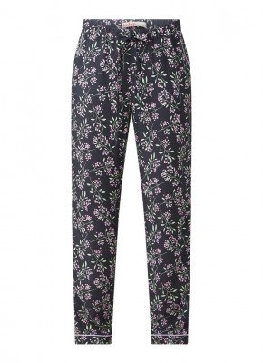 Le Nap Le Nap Pyjamabroek van tencel met contrasterende bies