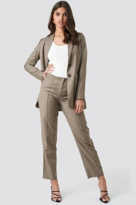 NA-KD Classic NA-KD Classic Pintuck Detail Suit Pants - Brown
