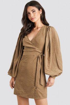 NA-KD Trend Puff Sleeve Tie Waist Dress - Brown