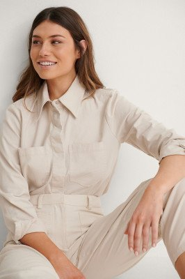 NA-KD Reborn NA-KD Reborn Soft Cotton Overshirt - Beige