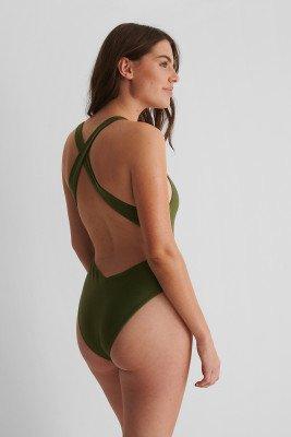 NA-KD Swimwear NA-KD Swimwear Gerecycleerd Badpak Met Gekruiste Bandjes - Green
